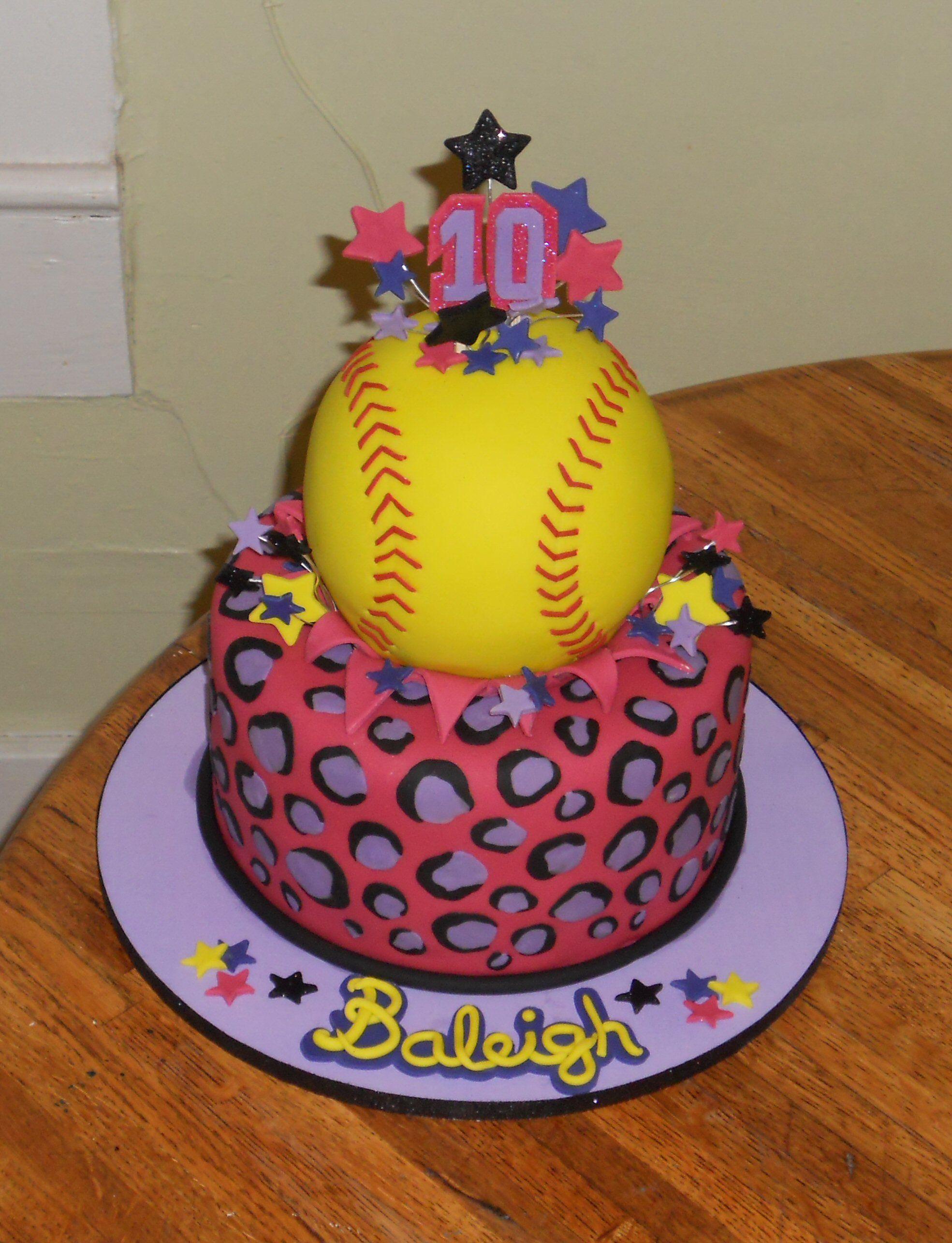 Wondrous Softball Birthday Cake But With Zebra Stripes Softball Birthday Personalised Birthday Cards Paralily Jamesorg