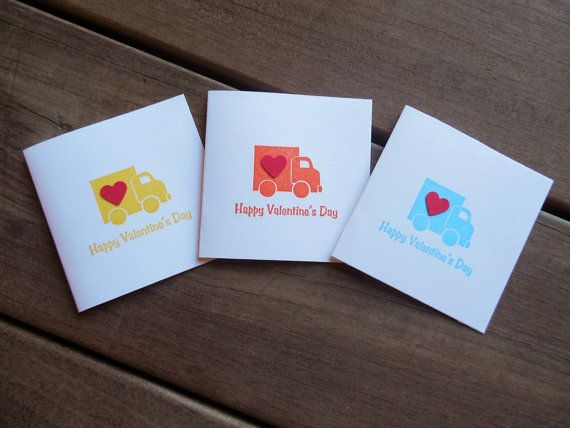 Truck Valentines-Boy's Valentines Cards-Kid's Valentines Cards-Happy Valentines Day Cards by Lemon Drops & Lilacs on etsy.com