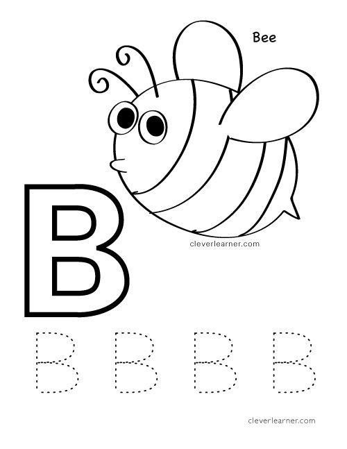 B Is For Bee Letter Practice Worksheet For Preschool Children Http Cleverlearner Com A Letter B Worksheets Letter B Coloring Pages Alphabet Coloring Pages