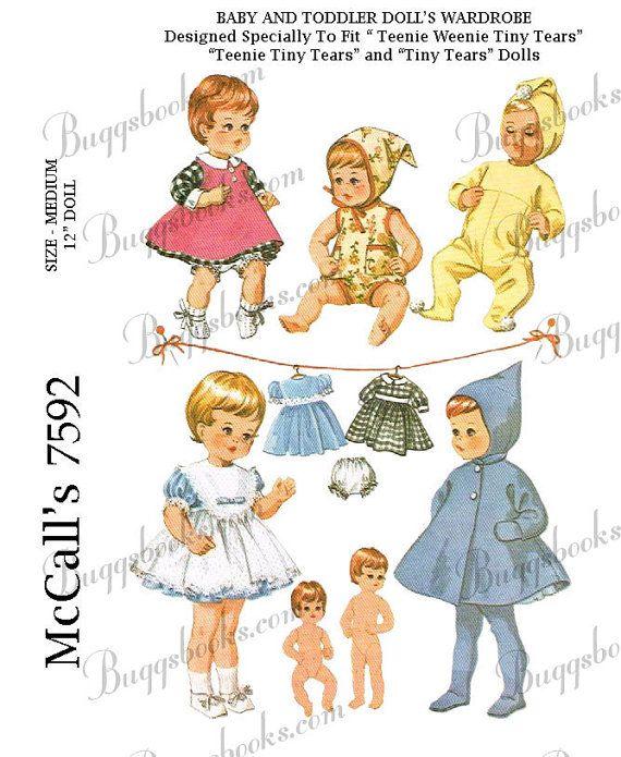 Vintage McCalls 7592  12 inch baby doll by BuggsNewUsedPatterns