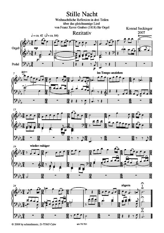 Stille Nacht (Orgel Solo) Konrad Seckinger (Reflexion in drei Teilen ...