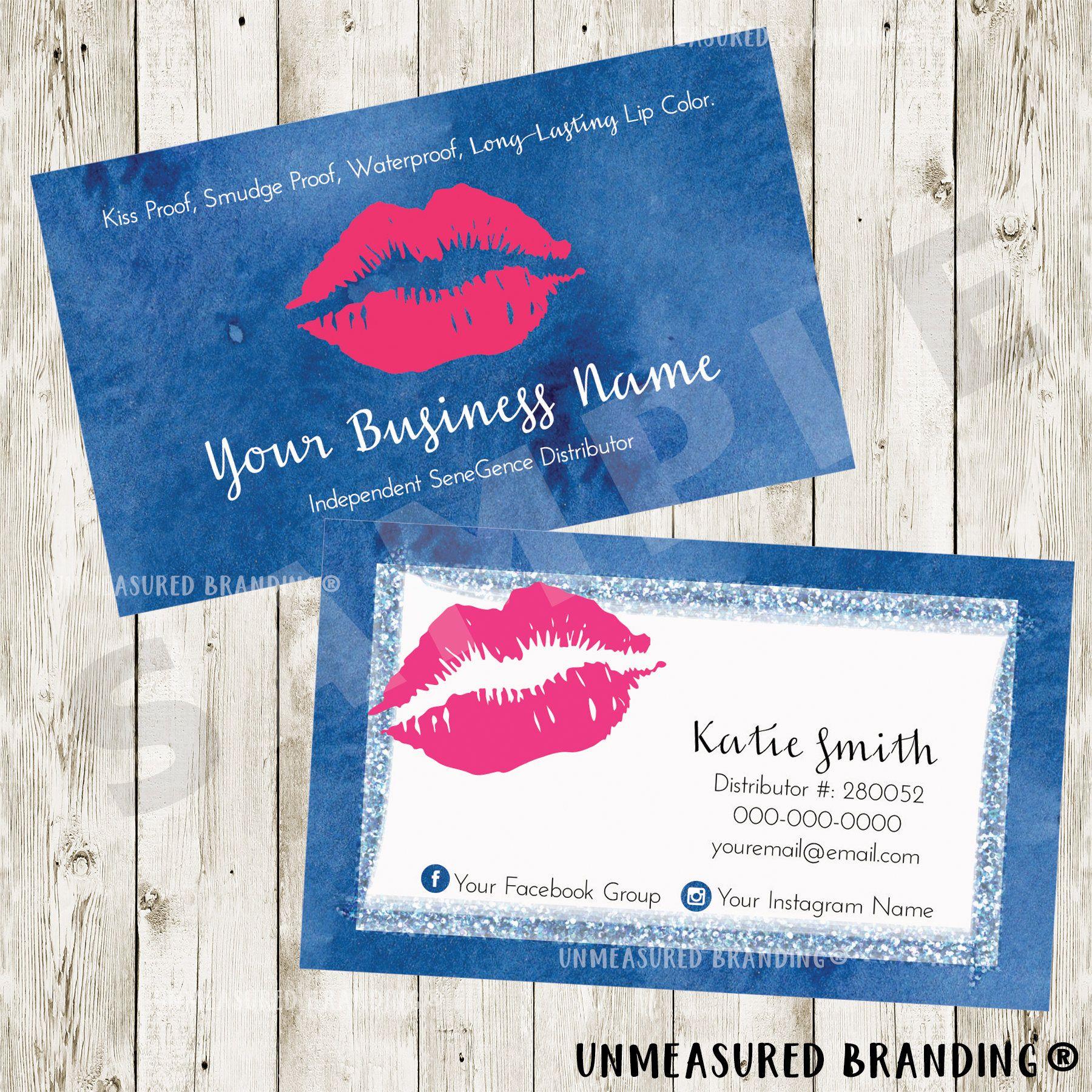 Blue Hot Pink Watercolor Glitter LipSense Business Cards LipSense ...