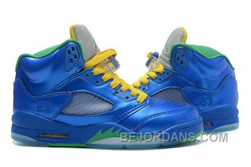532535cc9f7242 Big Discount Nike Air Jordan 5 Mens Metallic Blue Yellow Green Shoes ...