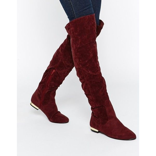 Buy Women Shoes / Daisy Street Oxblood Flat Over The Knee Boots