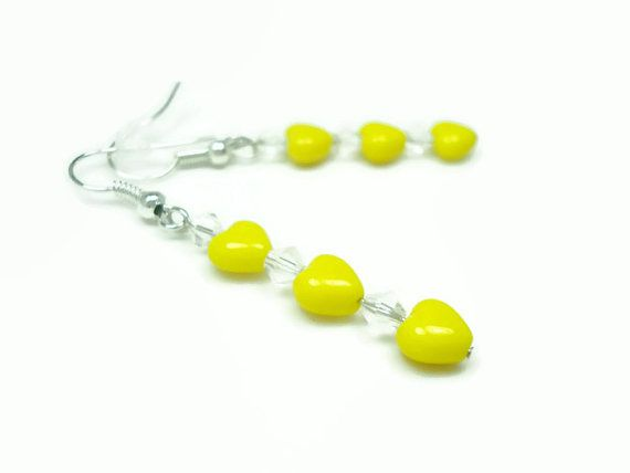 Yellow Earrings Beaded Jewelry Heart by WildRoseGiftBoutique