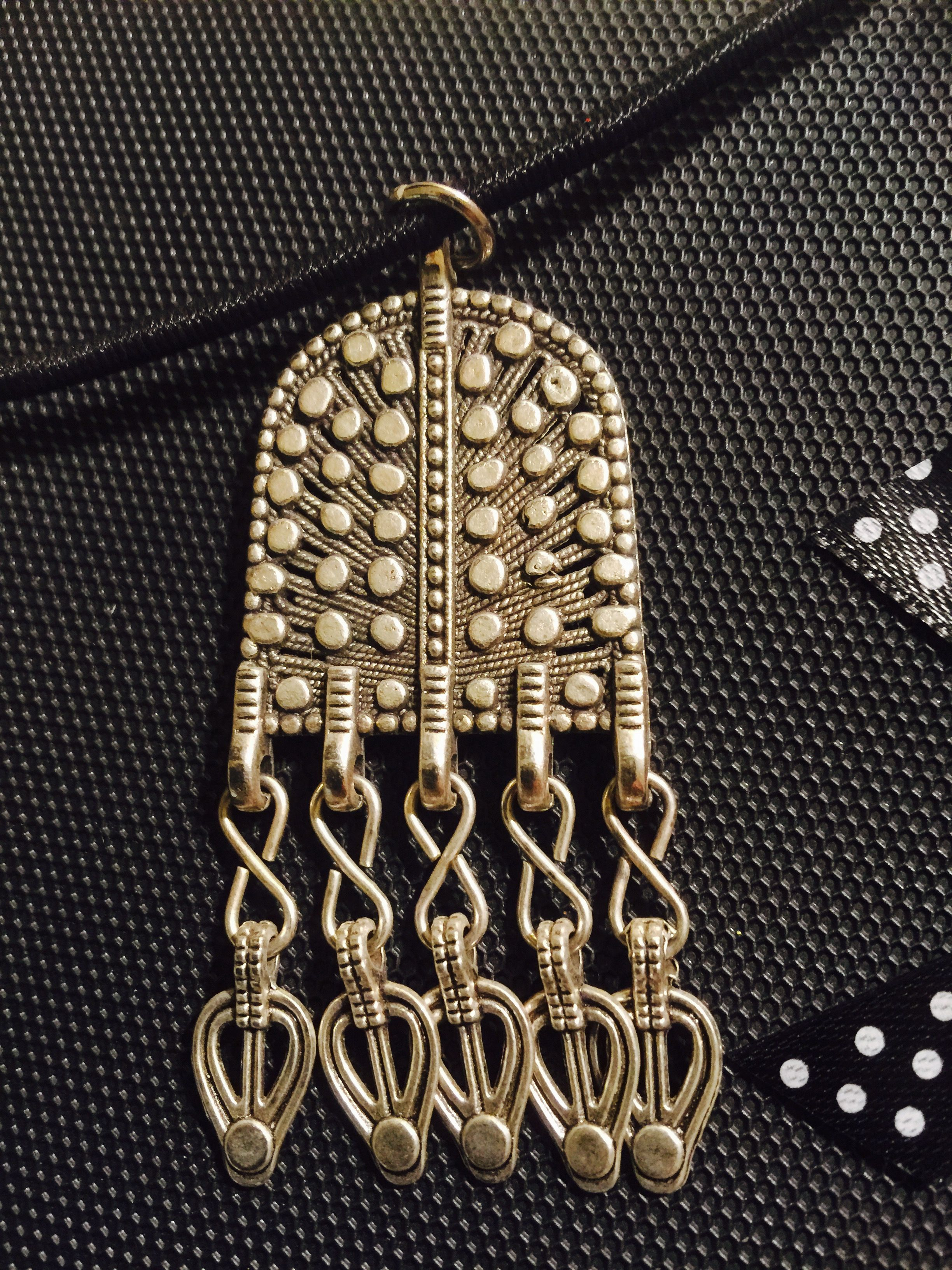 OMANI Traditional Design Pendant. Black leather necklace. Immerse ...