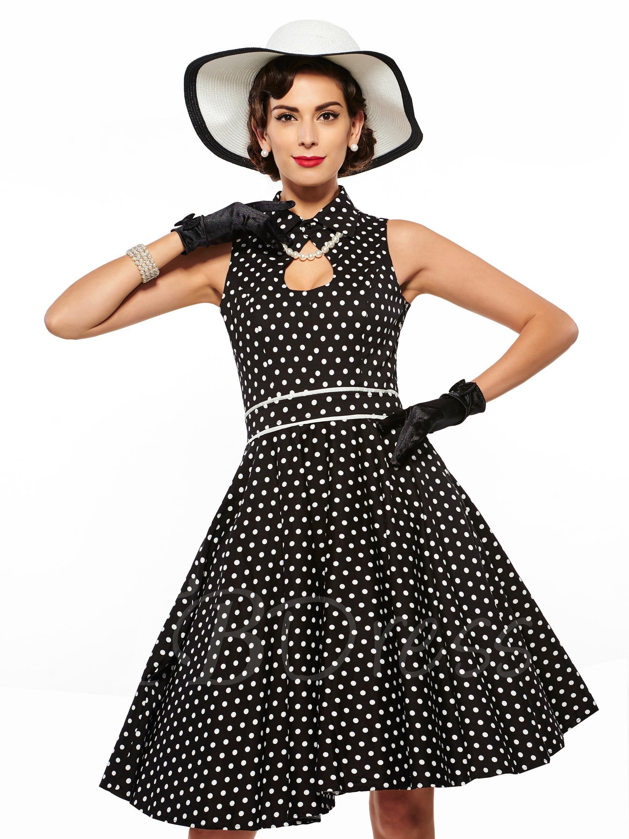 AdoreWe - TBDress Hollow Lapel Polka Dots Womens Day Dress (Plus Size Available) - AdoreWe.com