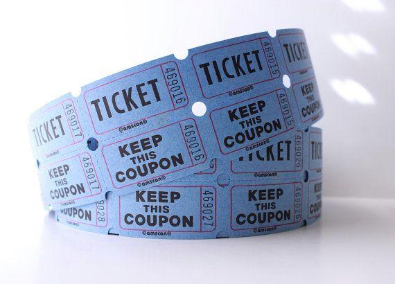 25 blue 2 part raffle tickets baby shower raffle blue wedding