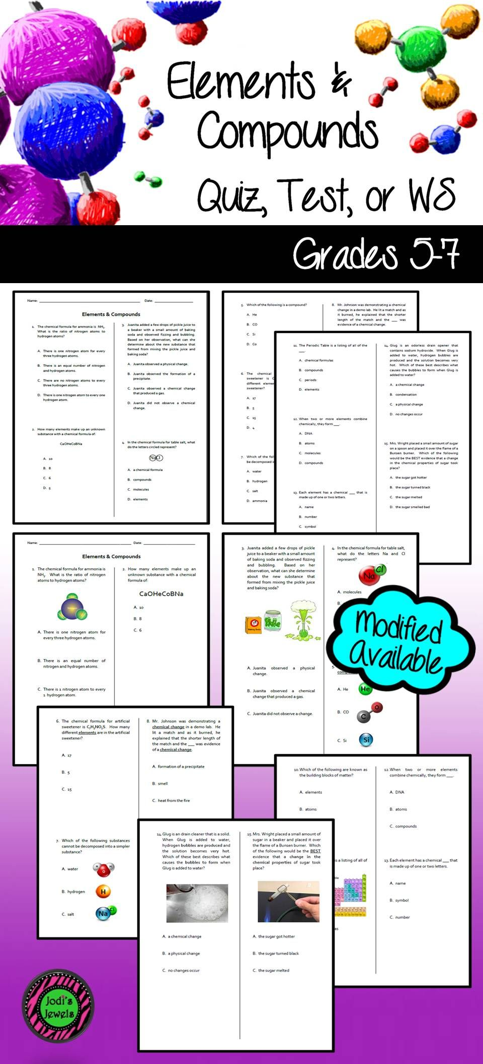 Created For An Introduction To Elements Compounds Unit This Worksheet Can Be Use Teaching Middle School Science Middle School Science Resources Gcse Science