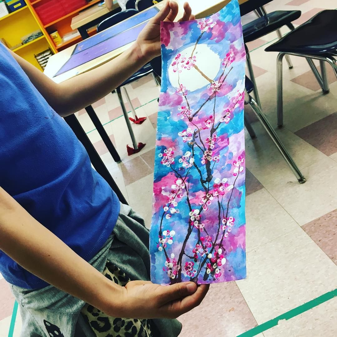 A Finished 3rd Grade Japanese Cherry Blossom Scroll Elementary Art 3rd Grade Art Lesson Elementary Art Projects