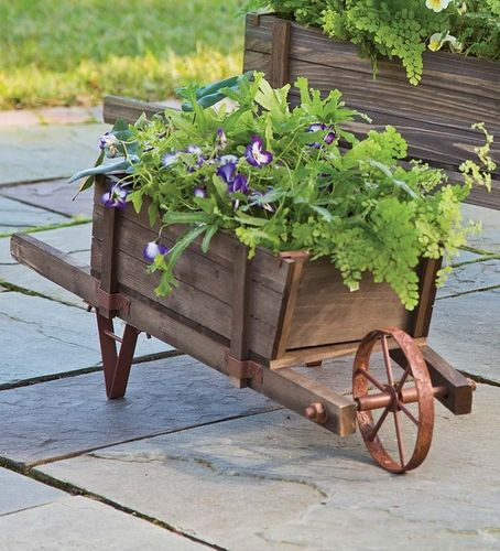 Plow Small Solid Wood Wheelbarrow Planter With Functional Wheel Collection Accessories From Plow Wheelbarrow Planter Decorative Outdoor Planters Wheelbarrow
