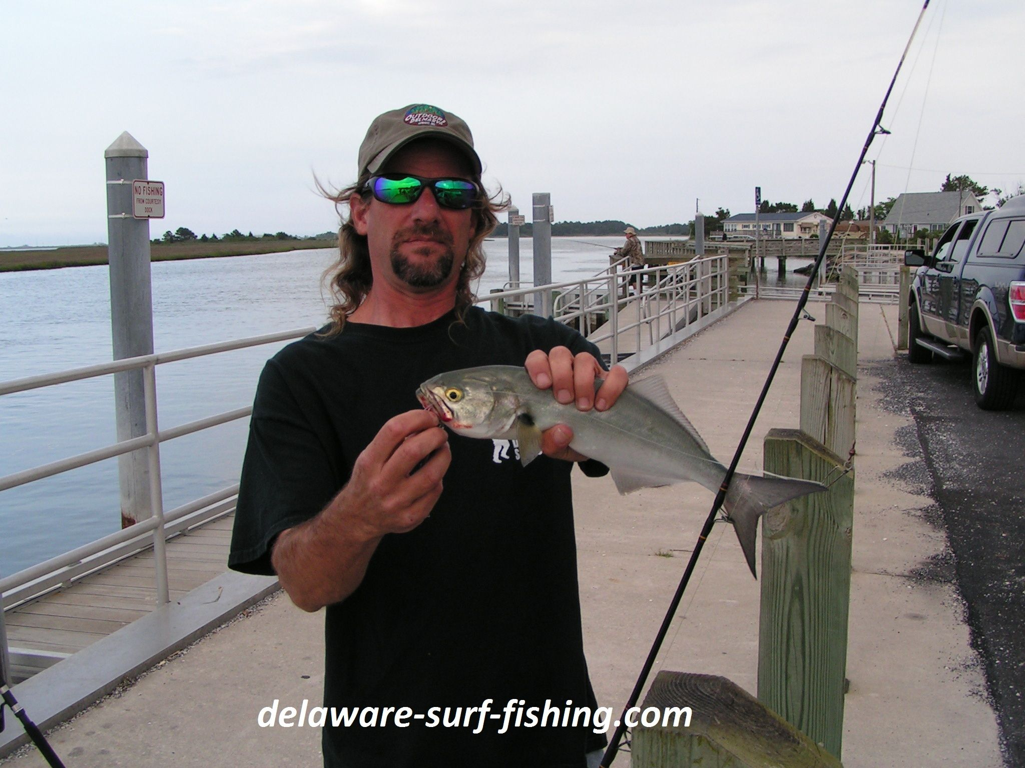 Me with a blue fish at massey 39 s landing delaware surf for Delaware surf fishing