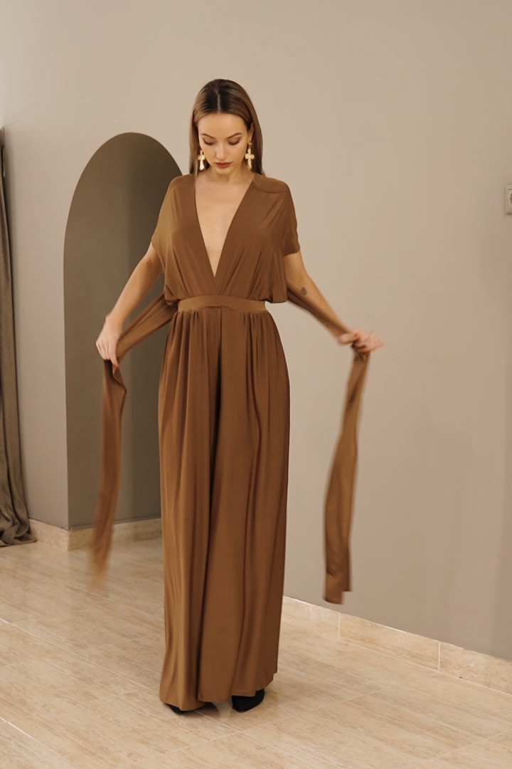 Off shoulder casual jumpsuit, bridesmaid jumspuit, long jumpsuit, Jumpsuit For Women Brown Jumpsuit