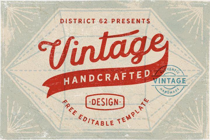 Free Vintage Retro Label Logo Template Script Typography Font Weathered Grunge Textured Sign Sta Label Templates Tea Packaging Design Vintage Logo