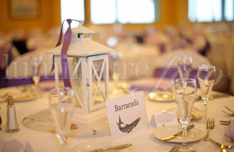 Wedding table centerpieces beach theme purple white