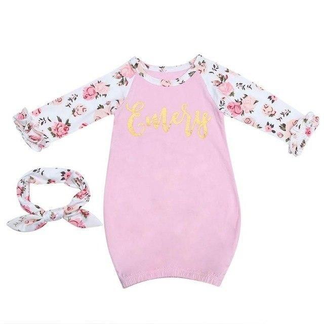 333ad7540b 2pcs Soft Cotton Winter Baby Sleepwear Sleep Bag Pink Floral Sleep Gown  Long Sleeve Newborn Pajamas Infant Costume