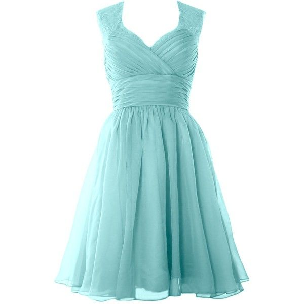 MACloth Women Lace Straps Chiffon Short Prom Dress Formal Party Evening Gown (32, Aqua)