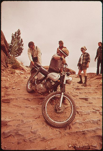 Park Ranger Lends a Hand to Motorcycle Rider Who Can't Manage His Bike on the Steep Road Elephant Hill, 05/1972 (Thought the bike might appeal to you, @Jacob Bland)