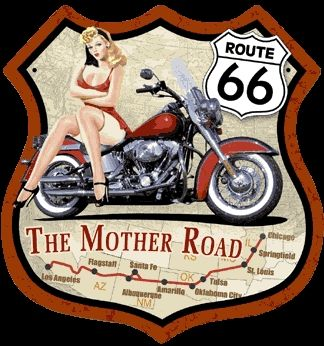 motorcycle pinup girls | Route 66 Pin-up Girl / Motorcycle Highway Shield