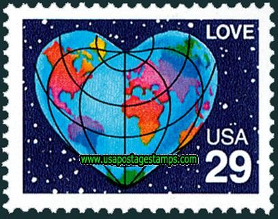 heart postage stamps | Commemorative Stamps: 29c Heart-shaped Globe. Greetings Stamp 1991