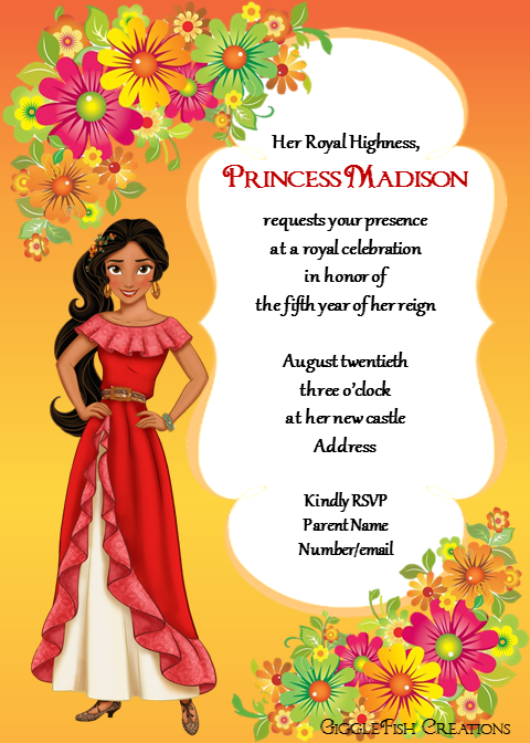 Elena Of Avalor Birthday Invitation By Gigglefish Creations
