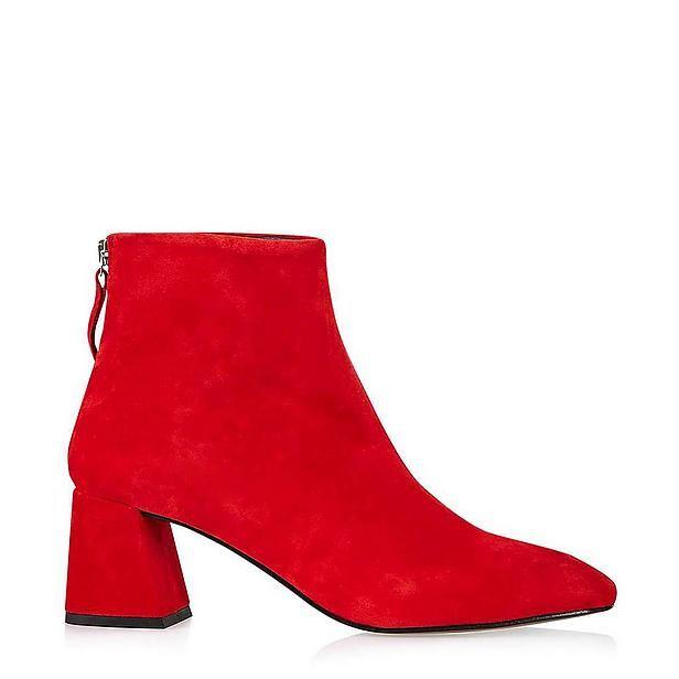 enkellaars #boots #red #suede #fashion #Wehkamp #Topshop