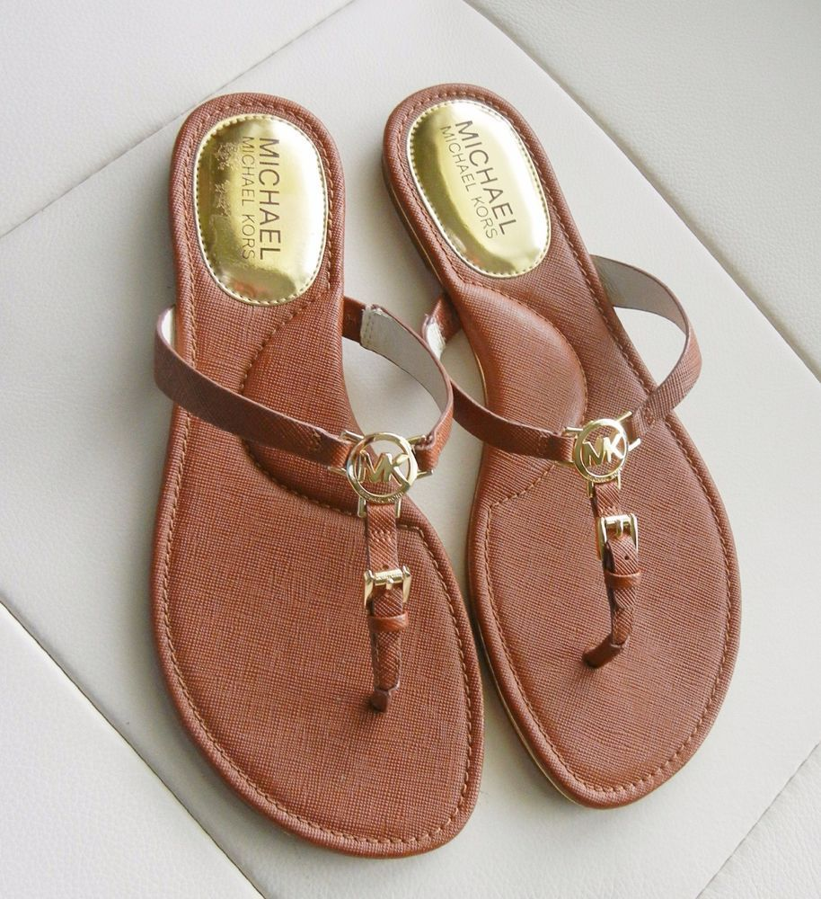 c3c2a2d44a0e5a New Michael Kors Nora Leather Thong Sandal Luggage Brown Size 7.5M   MichaelKors  TStrap