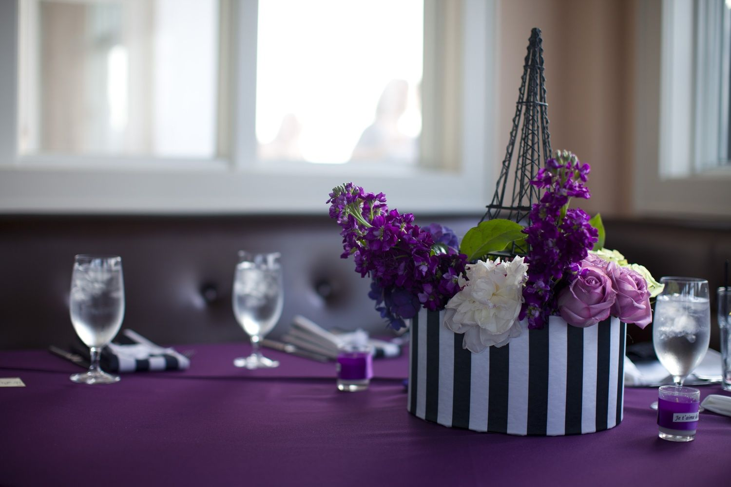 paris and purple purple black ivory wedding colors parisian themed wedding reception decor flowers