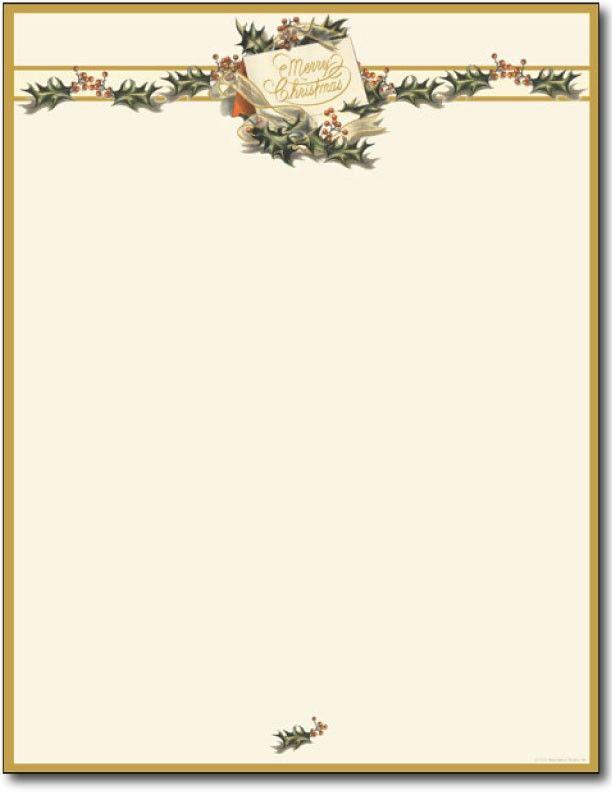 Vintage Christmas Holly Letterhead   Sheets  Christmas Letter