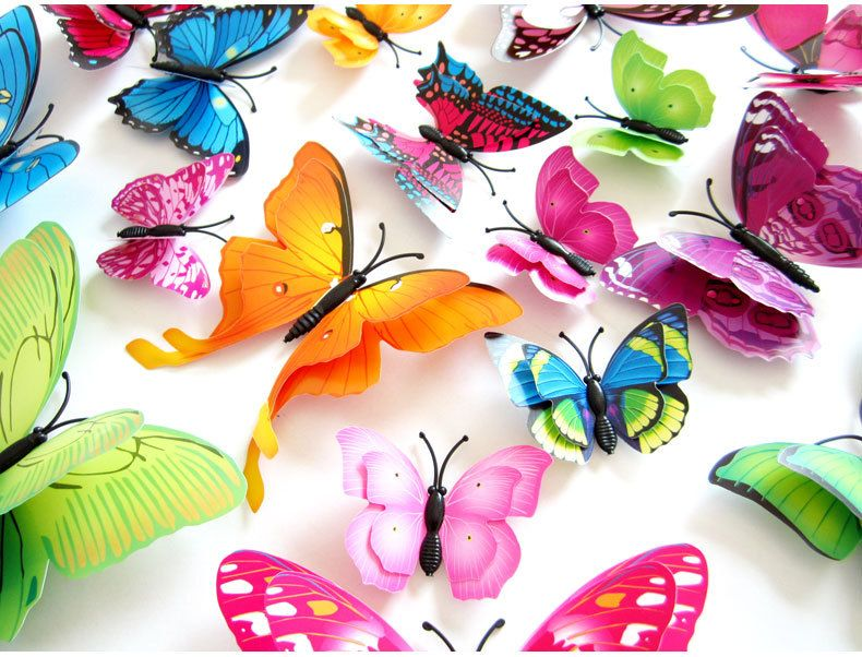Pink 3D Butterfly 12PCS Stickers Making Stickers Wall Stickers Crafts Butterflies Kids Room Decor Decal Applique