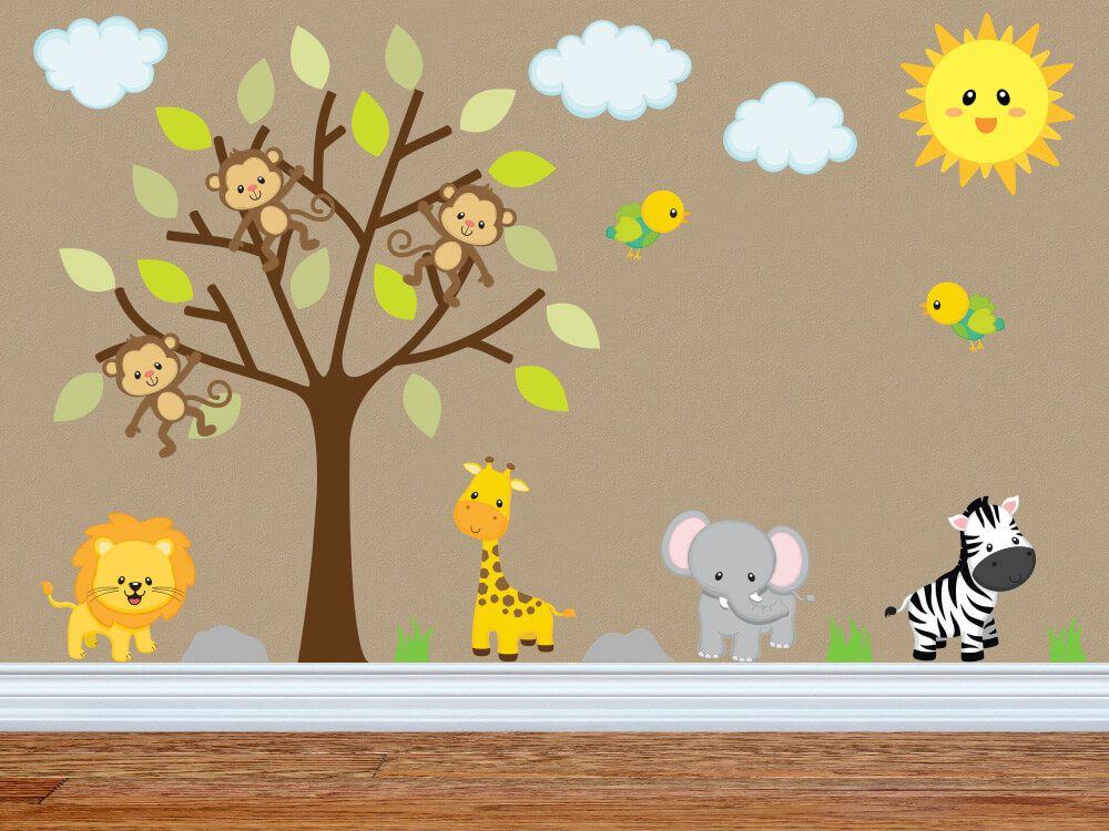 Swinging In For Some Fun Jungle Nursery Wall Decals Nursery