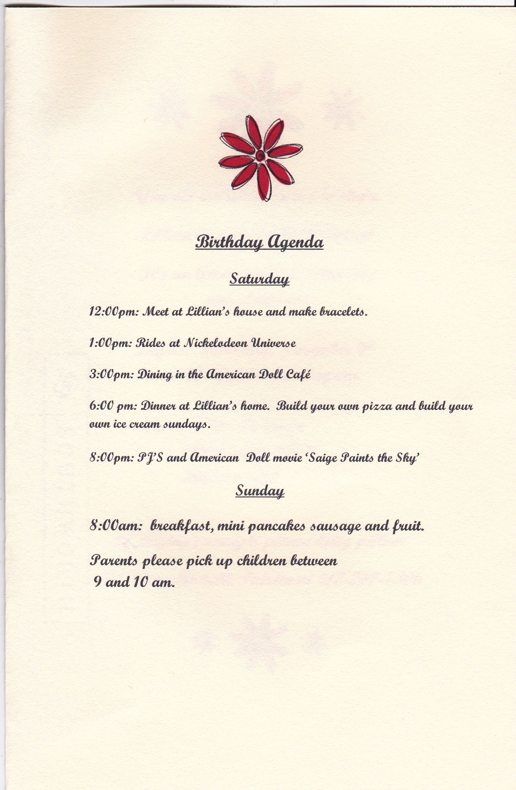 American doll theme Birthday party itinerary.   Banquet and private ...