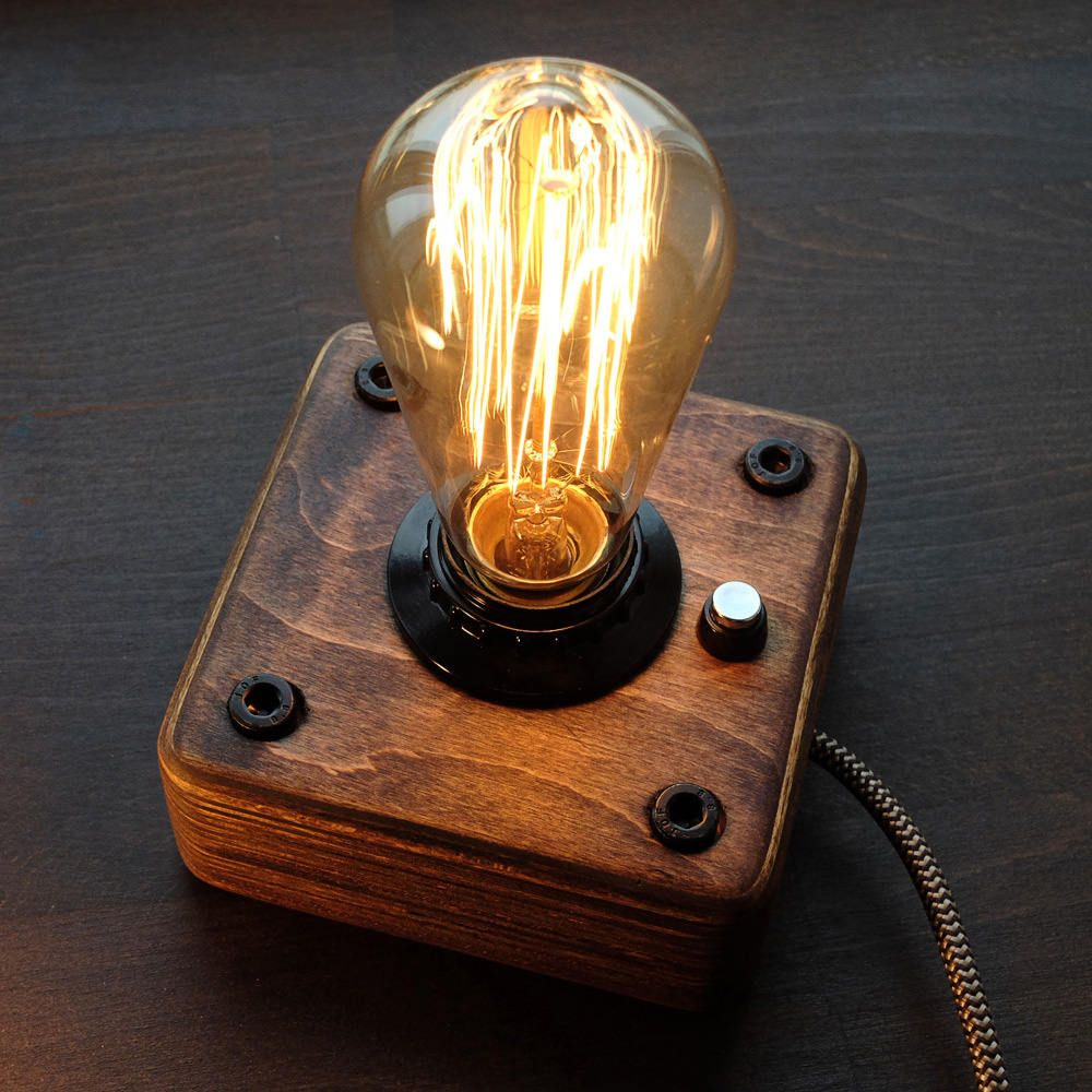 A Wooden Lamp In The Style Of Industrial A Steampunk For Retro Lamps Edison The Lamp Is Made By Hand From Natural Steampunk Lamp Wooden Lamp Industrial Lamp