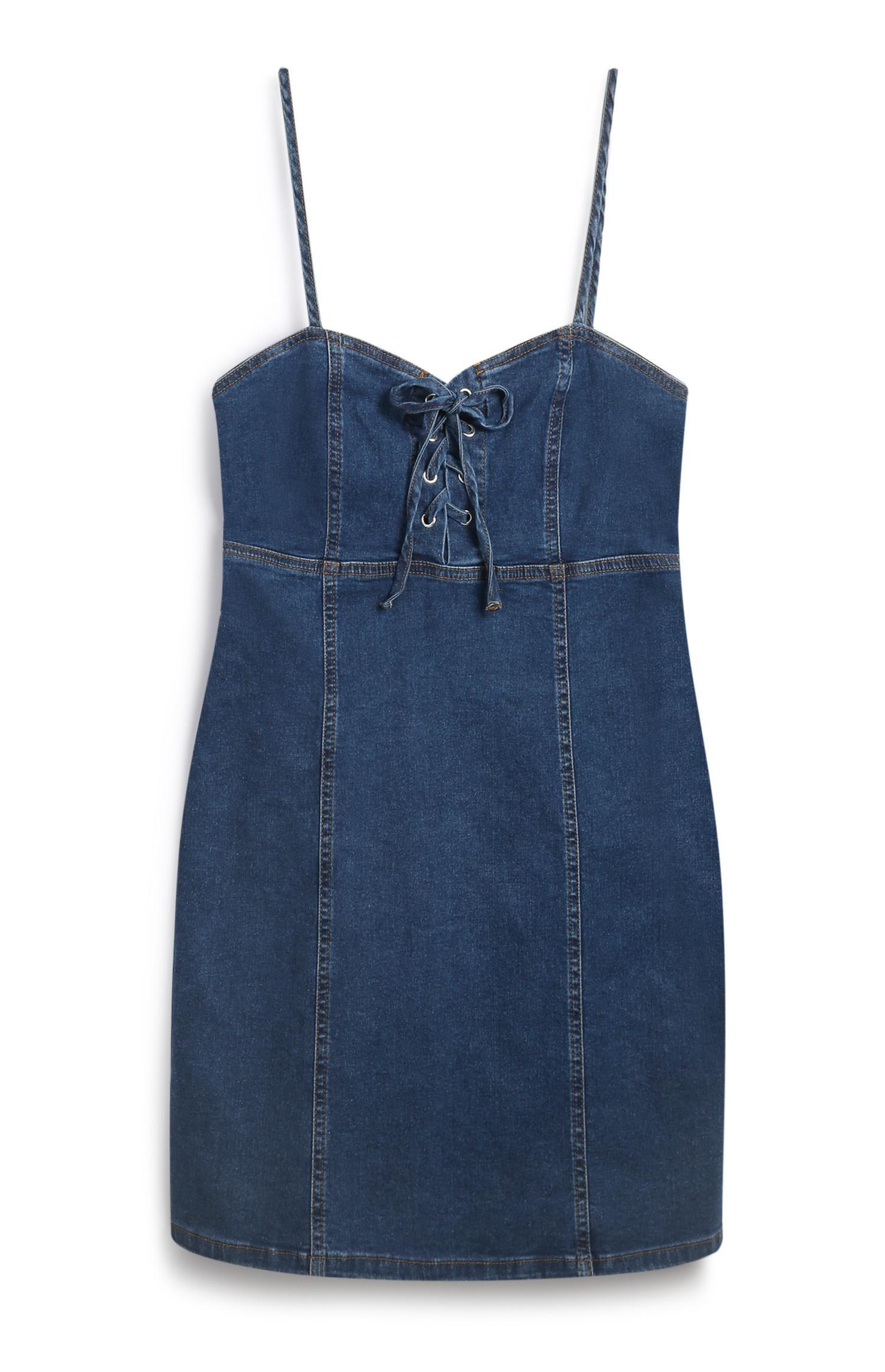 primark - blaues jeanskleid mit zierknoten | jeans kleid