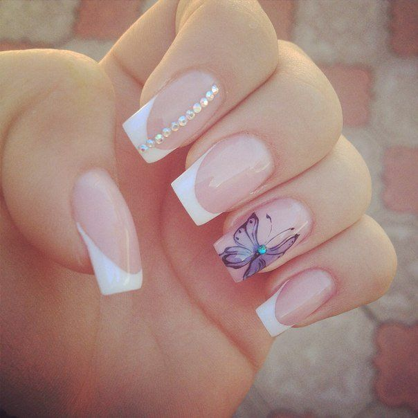 Beautiful French Nails Blue French Manicure Double French Manicure Festive Best Nail Art Designs French Nail Art French Tip Nails
