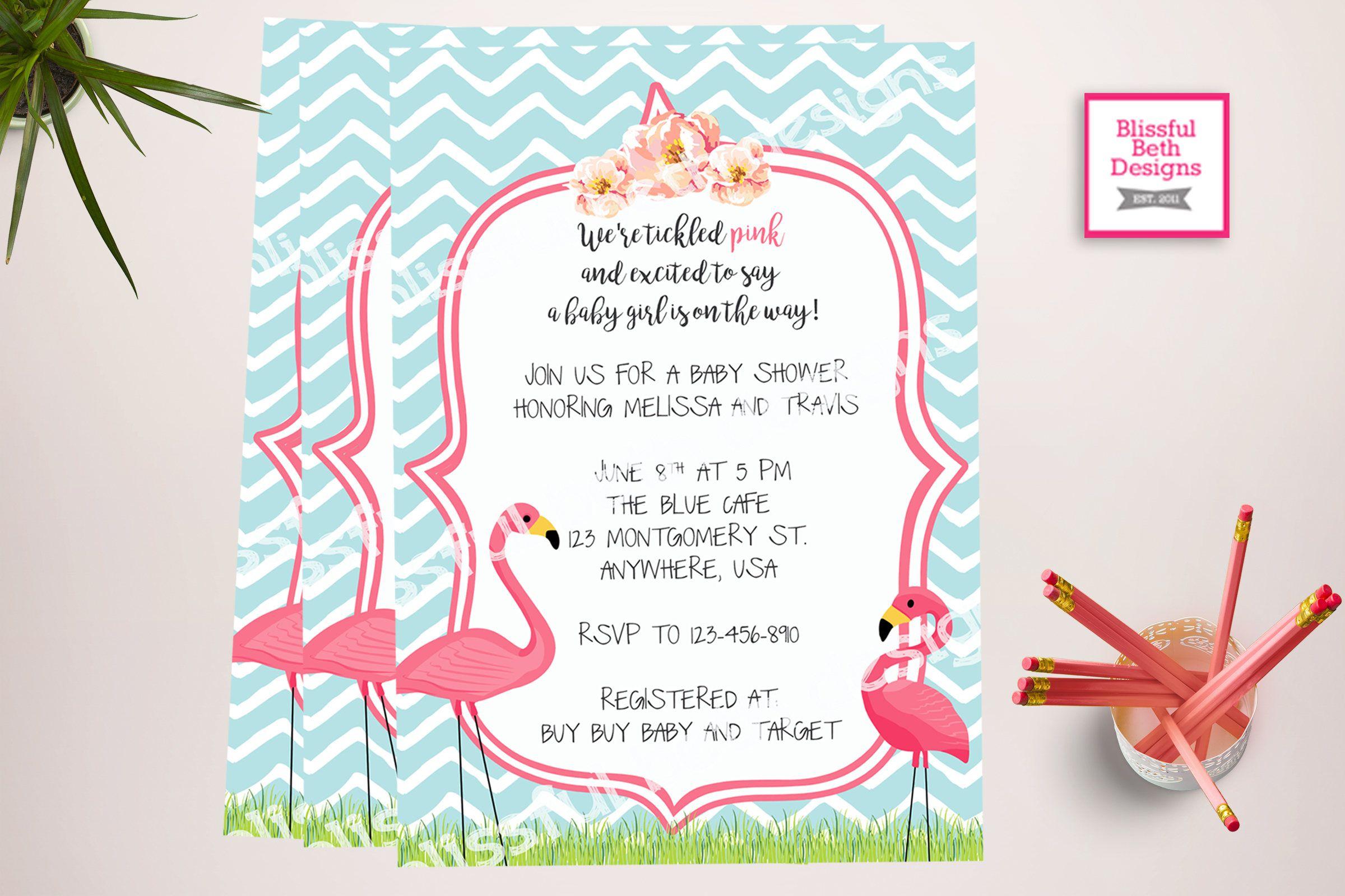 FLAMINGO BABY SHOWER, Tickled Pink Baby Shower Invitation, Flamingo ...