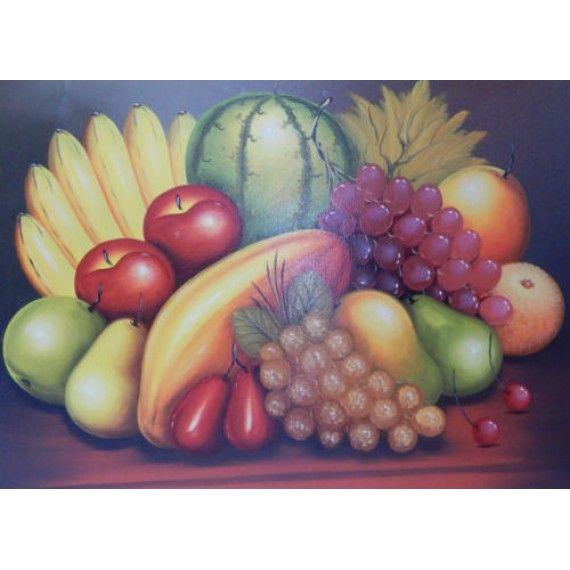 Lukisan Oblek Motif Buah Buahan Yang Berpariasi Dimensi 60x80 Cm Cocok Digunakan Untuk Penghias Ruang Makan Atau Ruang Dapur Lukisan Buah Gambar