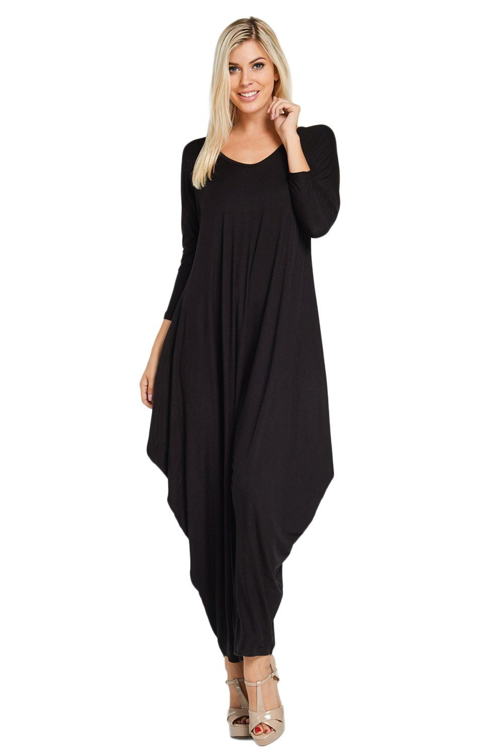 2895665e3b8 Annabelle Women s Long Sleeve Comfy Harem Jumpsuit Romper with Pockets  Black Large J8002