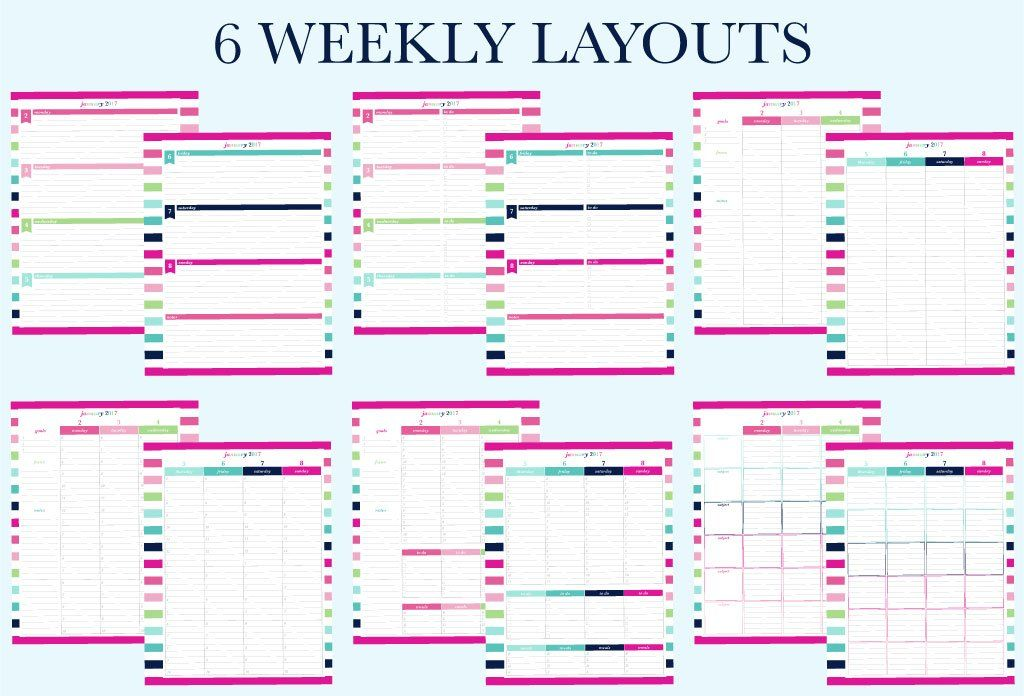 6 weekly layouts available for the 2017 printable planner by ...