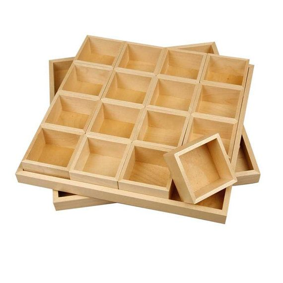 Plain Wooden Storage Box   16 Lift Out Compartments   Lid   Craft Decorate    Bead