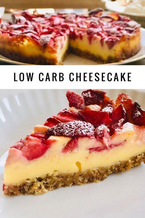 Zuckerfreier Vanille Cheesecake mit Erdbeeren - Holla die Kochfee