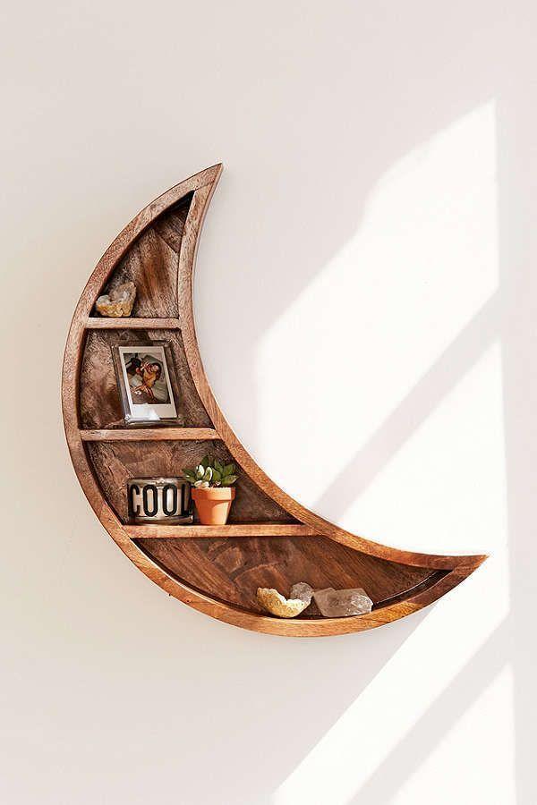 Slide View: 1: Crescent Moon Wall Shelf - Book Storage / Home Accessories