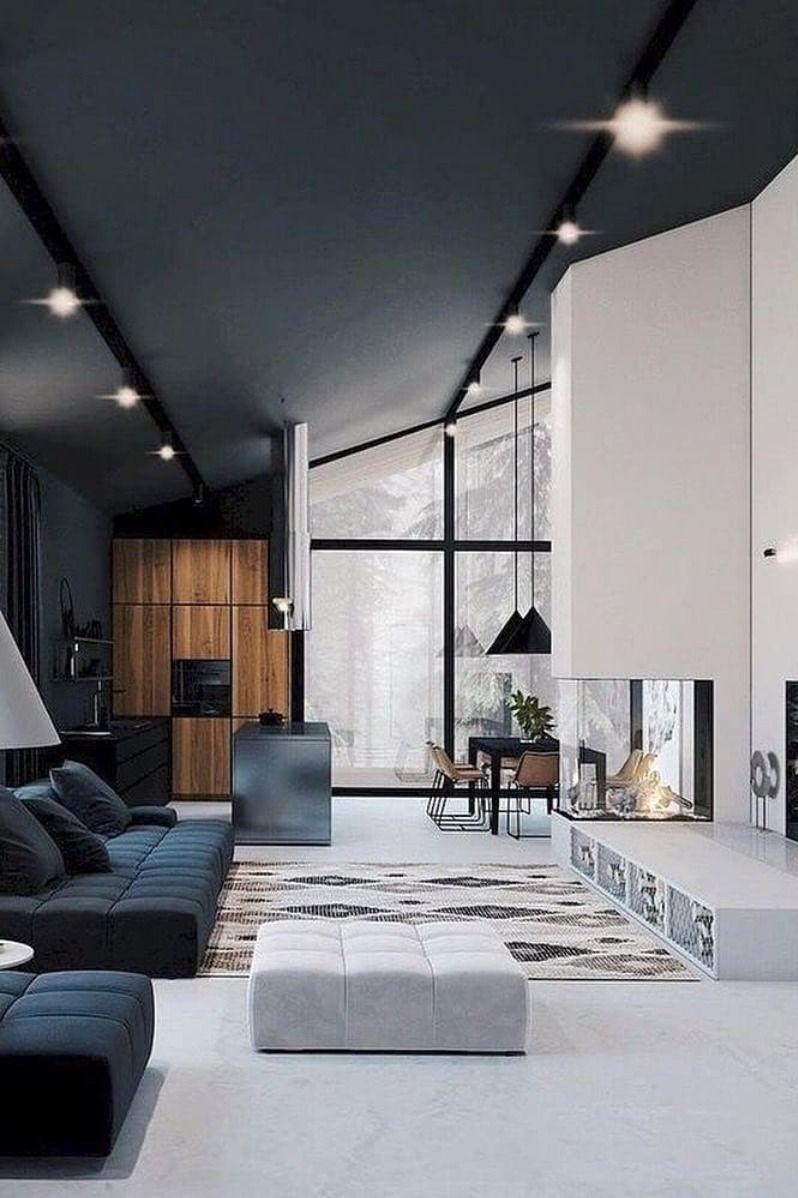 White And Grey House Interior Design With Lightning Modern Mansion Interior Modern Home Interior Design Mansion Interior