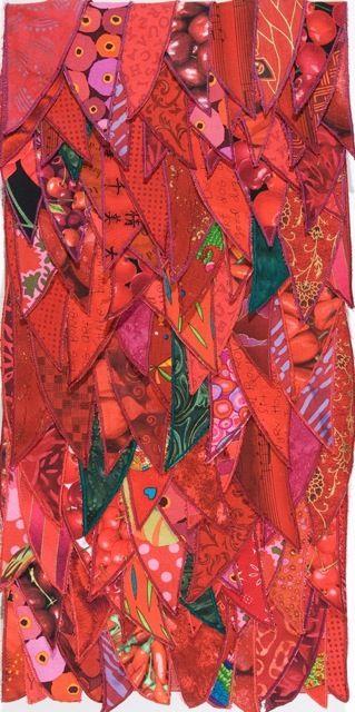 RED LEAVES fiber art, satin-stitched elements