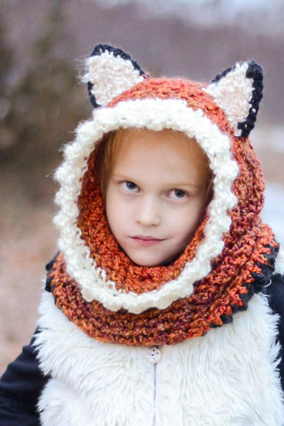 Animal Hoodie Cowl, Hooded Cowl, Warm Winter Hats, Kids Animal Hoods ...
