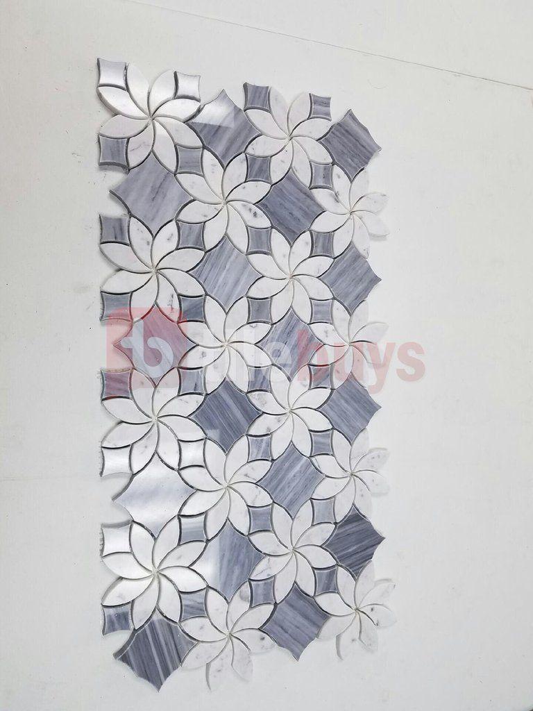 Bardiglio Grey And Carrara White Marble Waterjet Mosaic Tile In Floral Mosaic Mosaic Tiles Tile Patterns