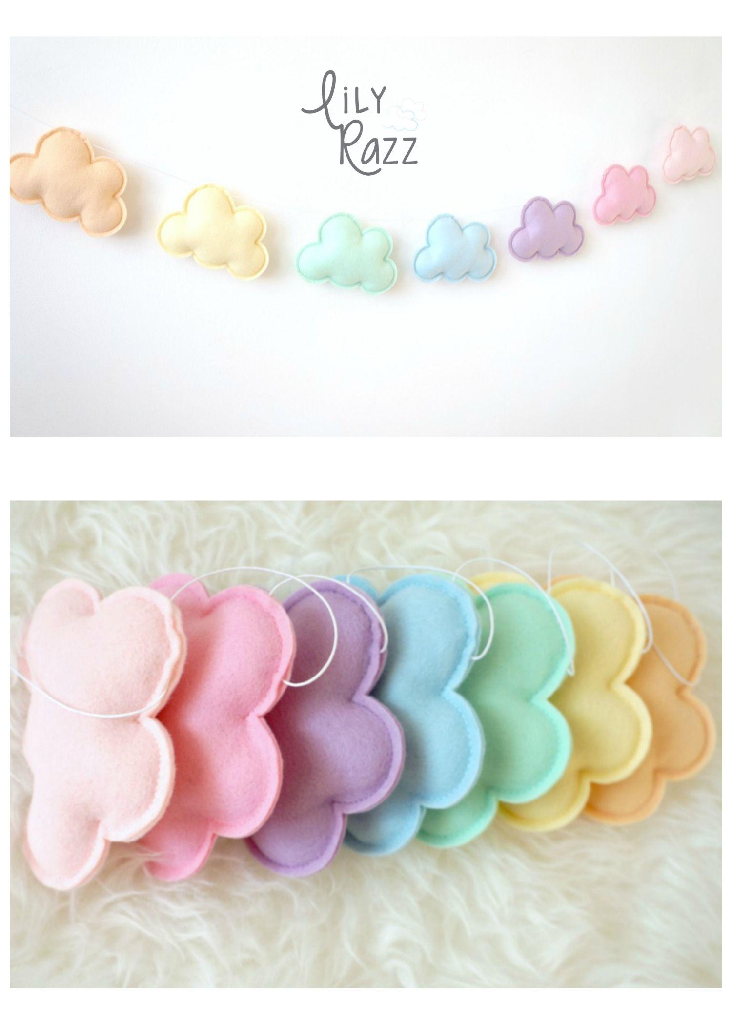 Rainbow Baby Bedroom: Pastel Rainbow Cloud Garland