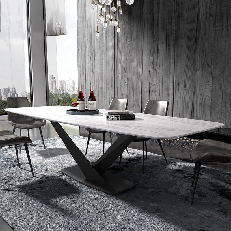 Iron Metal Dining Room Set Home Furniture Minimalist Modern Marble