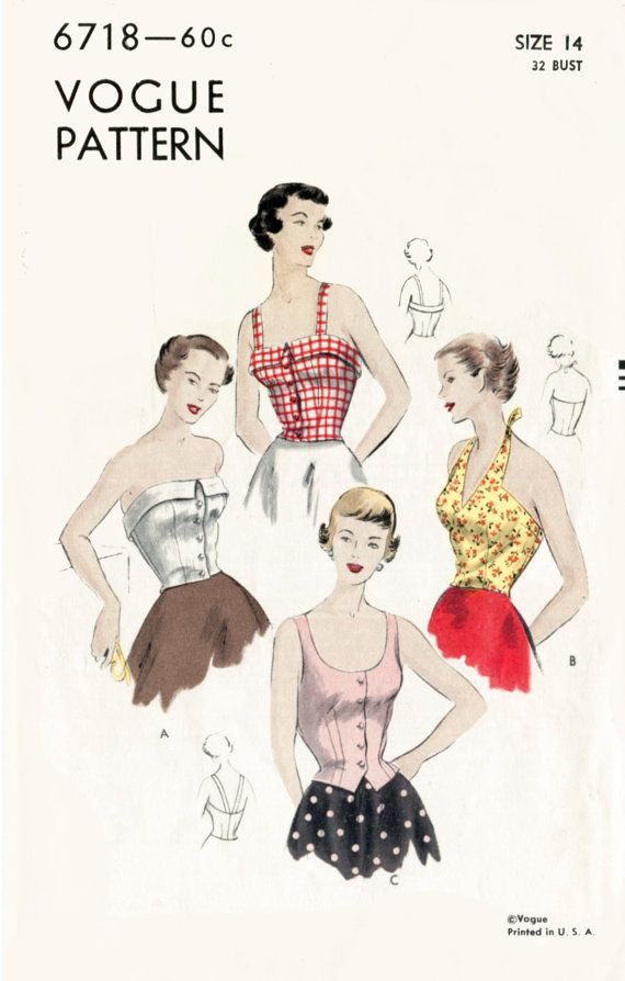 1950s 50s vintage sewing pattern crop top halter blouse bustier ...