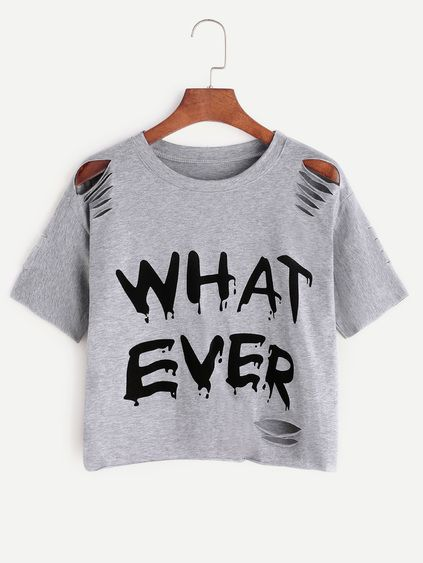 c43e74e1b95f99 Grey Letter Print Ripped T-shirt | Shirts to make ❤ | Outfits ...
